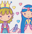 princess and princess cute hand drawing cartoon vector image
