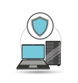 protection laptop data server vector image vector image