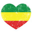 Rasta Rastafarian retro heart shaped flag vector image