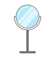 round shiny mirror on metal stand for make-up vector image vector image