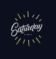 saturday vibes hand written lettering vector image