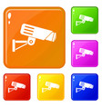 security camera icons set color vector image vector image