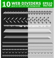 Set of 10 web page dividers vector image