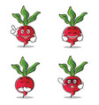 set of radish character cartoon style vector image vector image