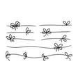 simple bows gift bow knot on line rope black vector image