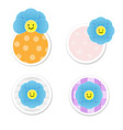 smiling blue flowers in circle banner vector image
