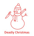 snowman with knife deadly christmas vector image
