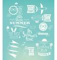 summer holidays design elements on blue background vector image