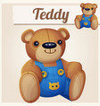 teddy bear in overalls vector image vector image