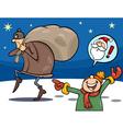 thief on christmas cartoon vector image vector image
