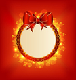 Christmas card with bow lighting background vector image