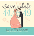 cute groom and bride cartoon save the date vector image