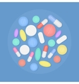 Many colorful medicine pills top view isolated vector image