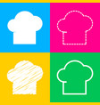 chef cap sign four styles of icon on four color vector image