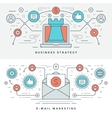 Flat line Business Strategy and Marketing vector image