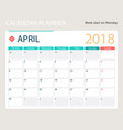 april 2018 calendar or desk vector image vector image