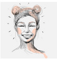 beautiful woman face laughing hand drawn vector image vector image