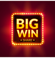 Big Win glowing banner for online casino slot card vector image vector image
