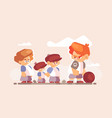 boy fighter with good kids outside vector image