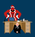 businessman scared under table of krampus vector image