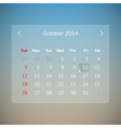 Calendar page for October 2014 vector image