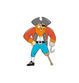 captain hook pirate wooden leg cartoon vector image