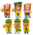 cartoon bavarian with beer character set vector image vector image