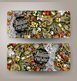 cartoon hand-drawn doodles italian food banners vector image vector image