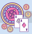 casino roulette machine aces poker cards chips vector image