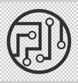 circuit board icon in flat style technology vector image vector image