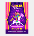 Circus show poster or flier with circus animals vector image