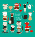 coffee brewing methods set vector image