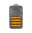 color crayon stripe cartoon battery device with vector image