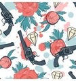 Colorful seamless pattern with guns diamonds and vector image