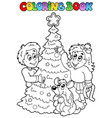 coloring book christmas topic 3 vector image vector image