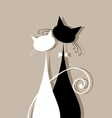 Couple cats together silhouette for your design vector image vector image