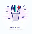 design tools thin line icon brush pencil ruler vector image