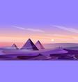 egypt pyramids and nile river in dusk desert vector image