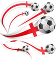 england flag set with soccer ball vector image