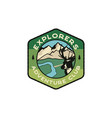 explorers logo emblem vintage hand drawn travel vector image vector image