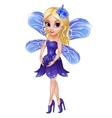 Fairy with wings in blue dress vector image