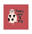 fat cute piggy flat hand drawn card vector image