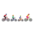 Father mother and kids biking vector image vector image