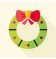 Flat Design Christmas Wreath Icon vector image vector image