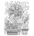 floral coloring page vector image vector image