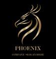 gold logo phoenix head eps 10