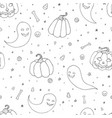 halloween seamless pattern with pumpkins ghosts vector image