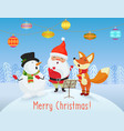 happy christmas card with cute santa claus vector image