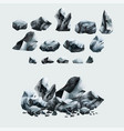 heavy granite rocks set in cartoon style vector image