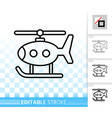 helicopter toy kids simple black line icon vector image vector image